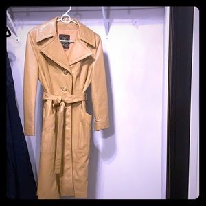 Camel color Leather trench coat